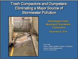 Photo of Trash Compactors and Dumpsters: Eliminating a Major Source of Stormwater pollution