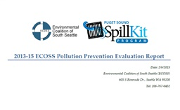 Photo of 2013-2015 ECOSS Pollution Prevention (Spill Kits) Evaluation Report
