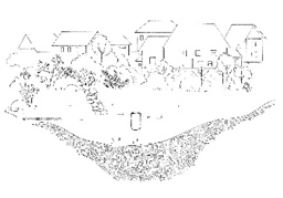 Photo of Stormwater Messaging Toolkit:  Image – Detention Pond_Line drawing