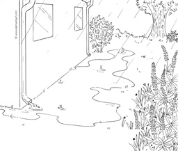 "Photo of Stormwater Messaging Toolkit:  Image – Flooded yard (""before"")_Line drawing"